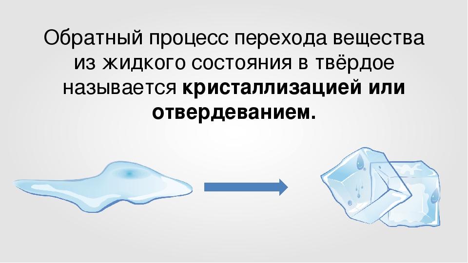 Обратный процесс перехода вещества из жидкого состояния в твёрдое называется...