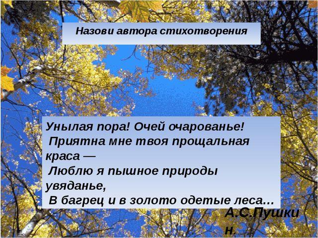 Назови автора стихотворения Унылая пора! Очей очарованье! Приятна мне твоя пр...