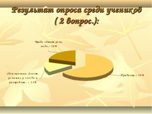 Результат опроса среди учеников ( 2 вопрос.):