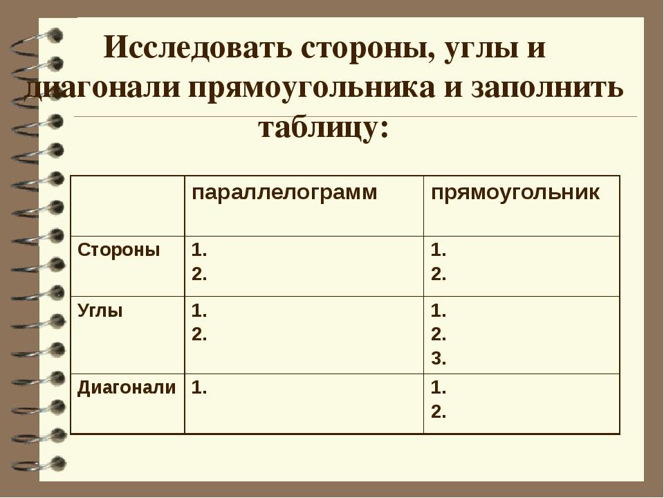 Исследовать стороны, углы и диагонали прямоугольника и заполнить таблицу: па...