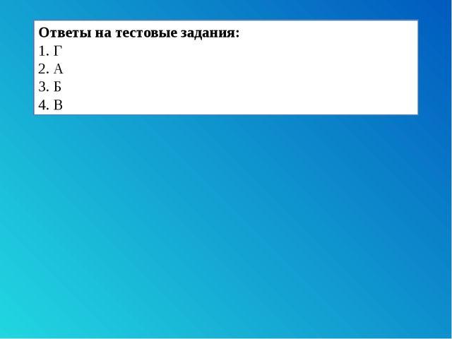 Ответы на тестовые задания: 1. Г 2. А 3. Б 4. В