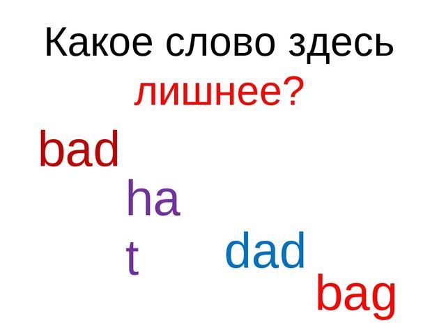 Какое слово здесь лишнее? bad hat dad bag