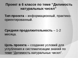 """Проект в 6 классе по теме """"Делимость натуральных чисел"""" Тип проекта – информа"""