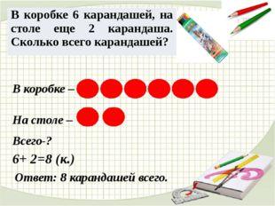 В коробке – На столе – 6+ 2=8 (к.) Ответ: 8 карандашей всего. Всего-? В короб