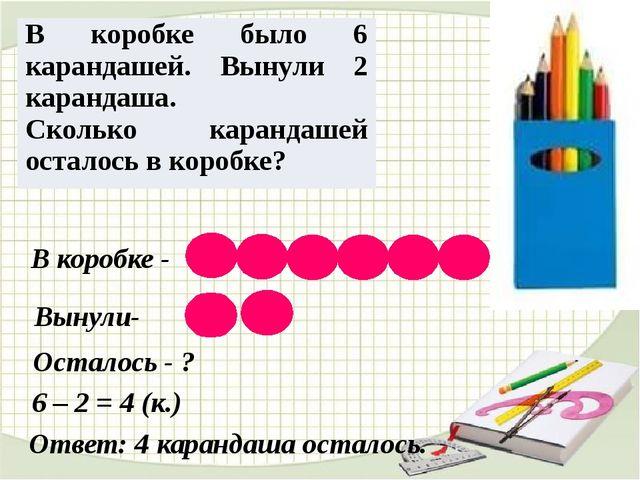 В коробке - Вынули- Осталось - ? Ответ: 4 карандаша осталось. 6 – 2 = 4 (к.)...