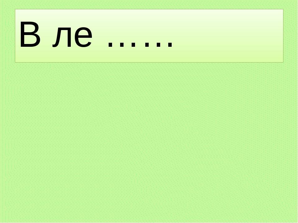 В ле ……