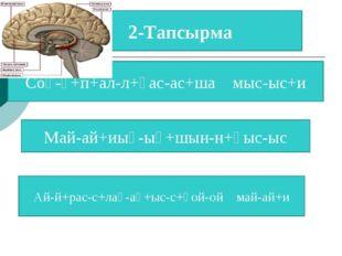 2-Тапсырма Соқ-қ+п+ал-л+қас-ас+ша мыс-ыс+и Май-ай+иық-ық+шын-н+қыс-ыс Ай-й+ра