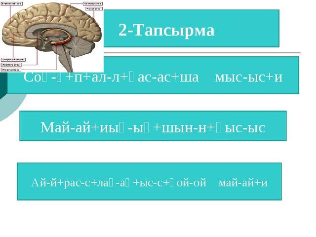 2-Тапсырма Соқ-қ+п+ал-л+қас-ас+ша мыс-ыс+и Май-ай+иық-ық+шын-н+қыс-ыс Ай-й+ра...