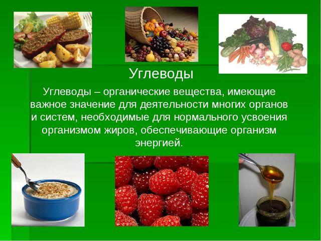 Углеводы Углеводы – органические вещества, имеющие важное значение для деятел...