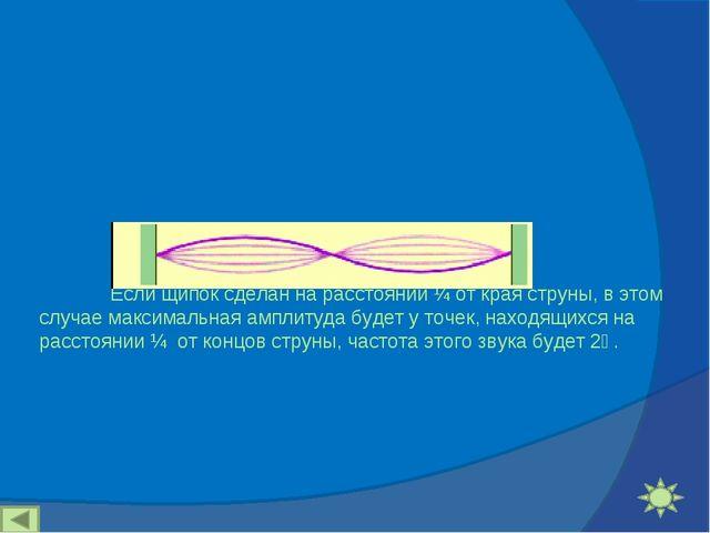 Если щипок сделан на расстоянии ¼ от края струны, в этом случае максимальна...