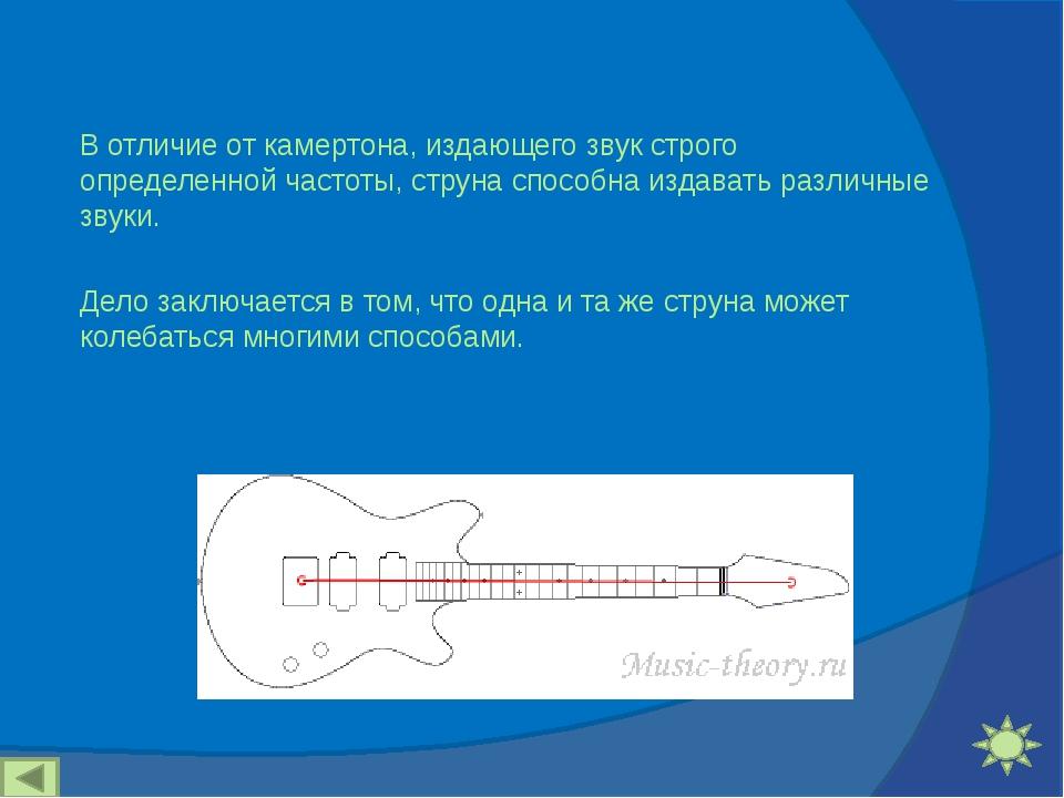 В отличие от камертона, издающего звук строго определенной частоты, струна сп...