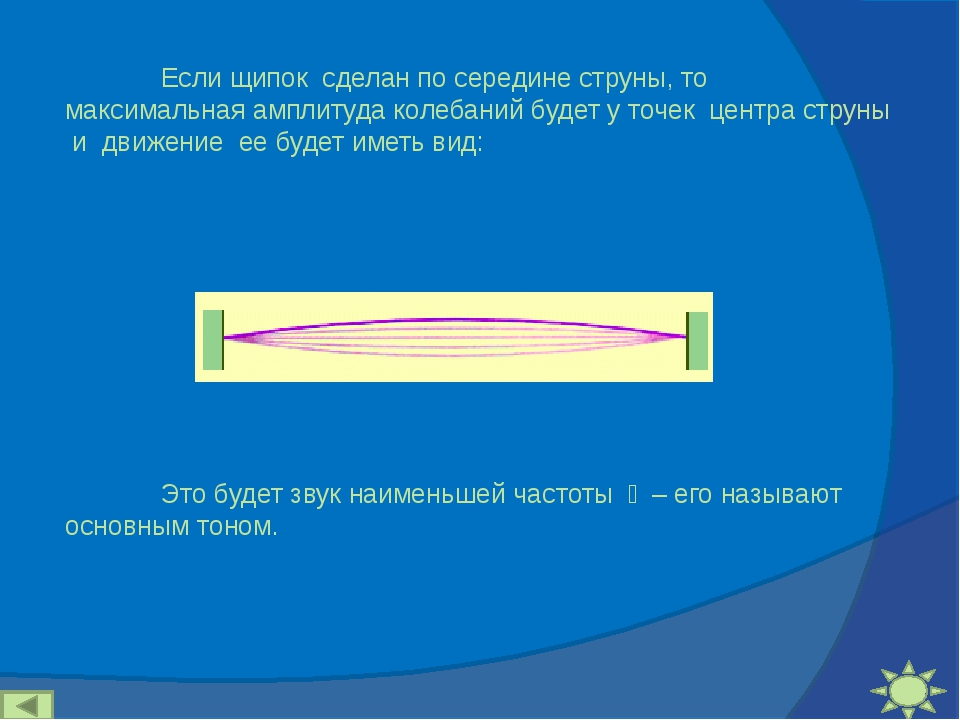Если щипок сделан по середине струны, то максимальная амплитуда колебаний бу...