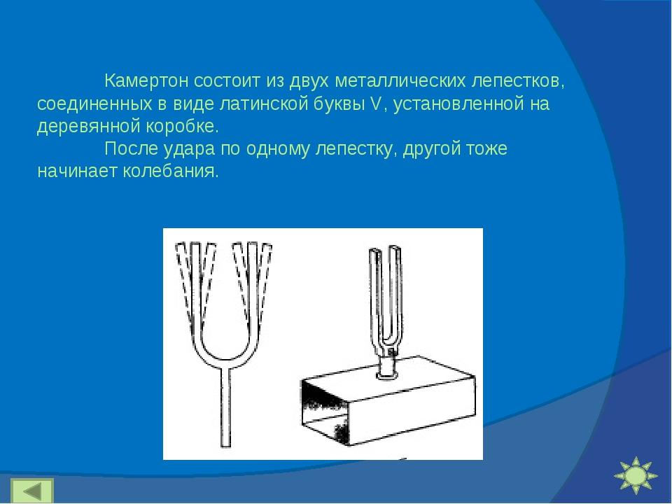 Камертон состоит из двух металлических лепестков, соединенных в виде латинск...