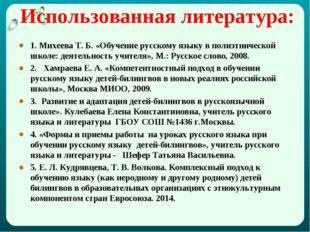 Использованная литература: 1. Михеева Т. Б. «Обучение русскому языку в полиэт