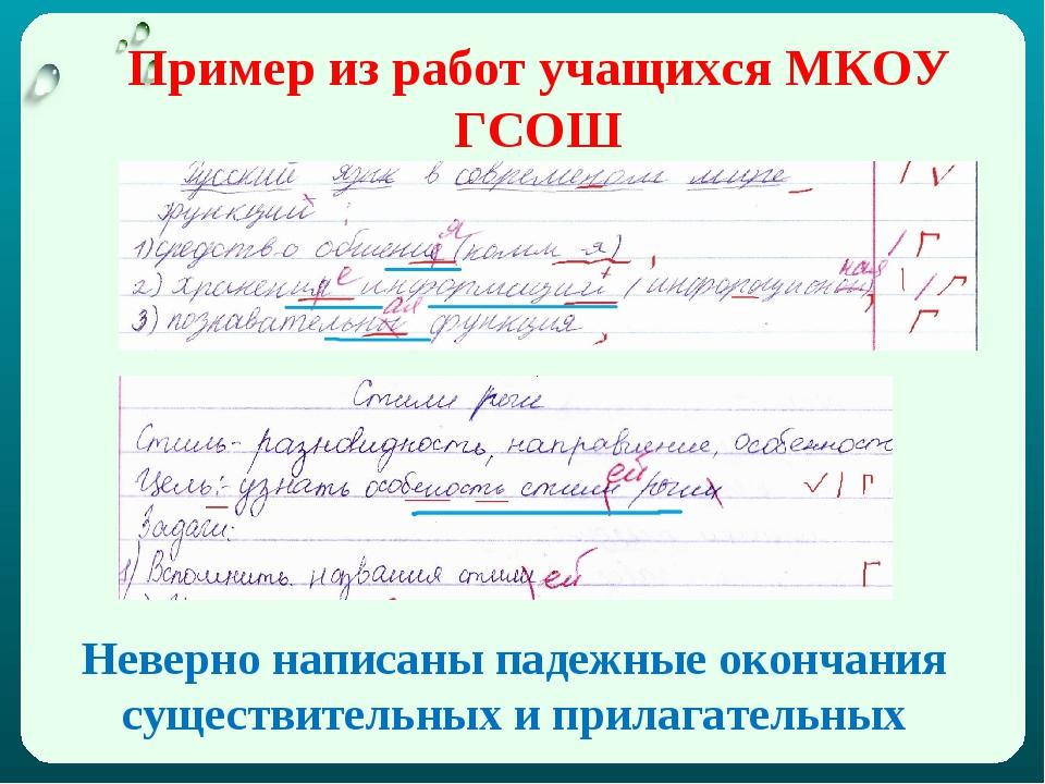 Пример из работ учащихся МКОУ ГСОШ Неверно написаны падежные окончания сущест...