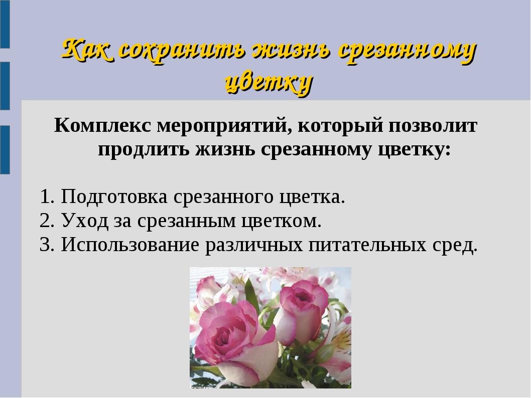 Как сохранить жизнь срезанному цветку Комплекс мероприятий, который позволит...