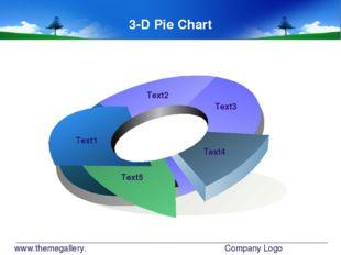 www.themegallery.com Company Logo Text1 Text2 Text3 Text4 Text5 3-D Pie Chart