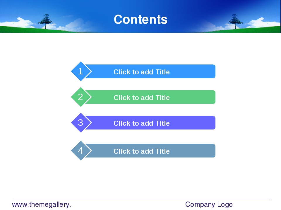 www.themegallery.com Company Logo Contents Click to add Title 1 Click to add...