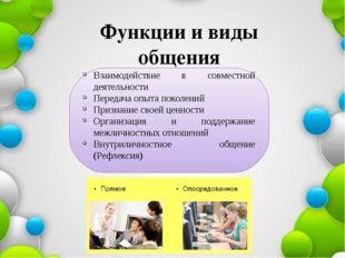 Функции и виды общения Взаимодействие в совместной деятельности Передача опыт