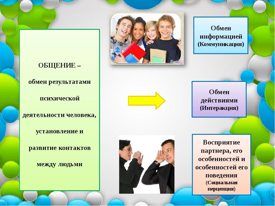 ОБЩЕНИЕ – обмен результатами психической деятельности человека, установление...