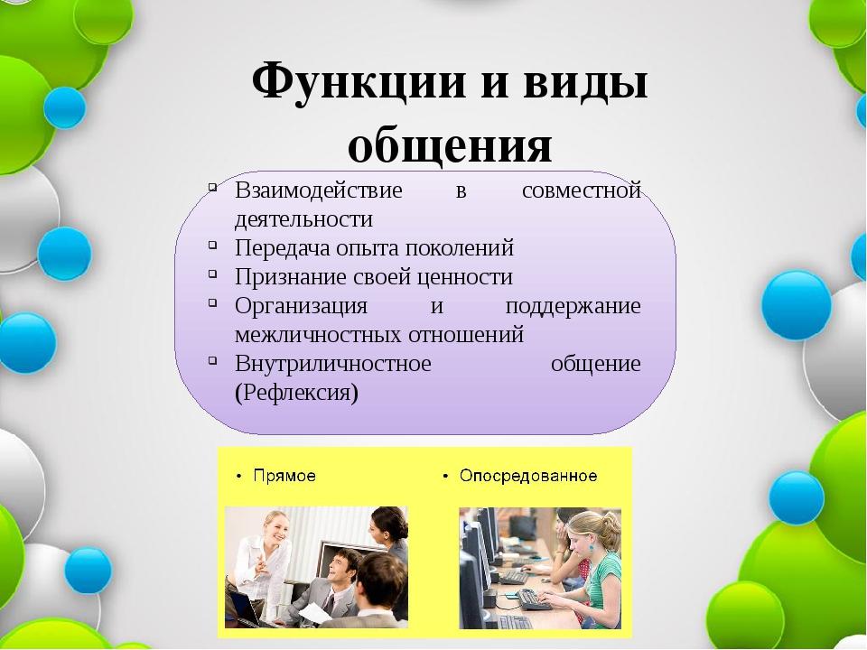 Функции и виды общения Взаимодействие в совместной деятельности Передача опыт...