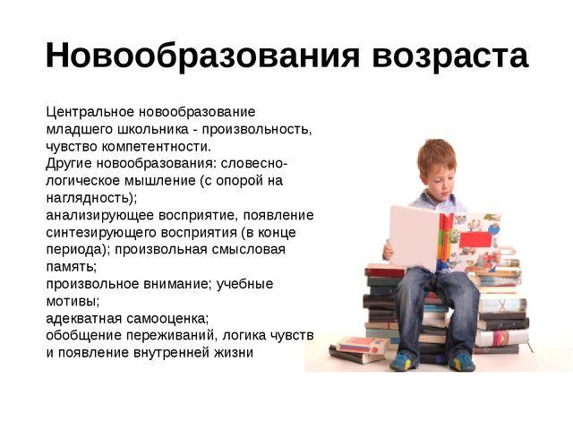 Новообразования возраста Центральное новообразование младшего школьника - про...