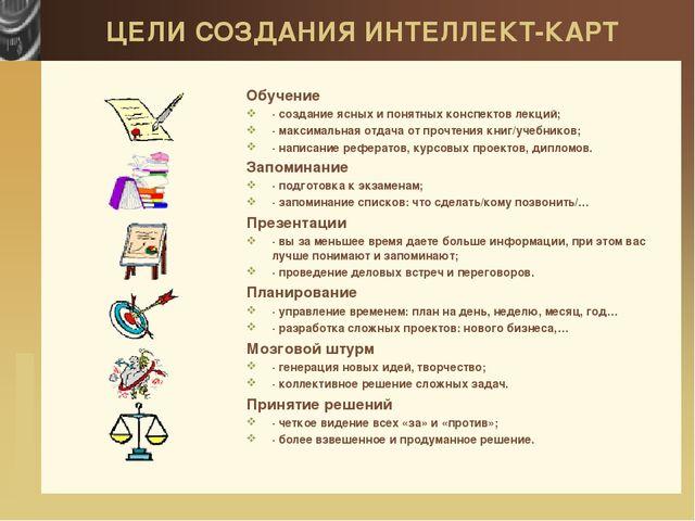 ЦЕЛИ СОЗДАНИЯ ИНТЕЛЛЕКТ-КАРТ Обучение ·создание ясных и понятных конспектов...
