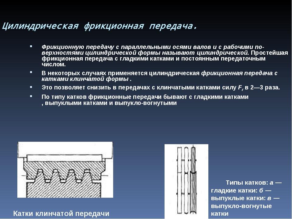 Цилиндрическая фрикционная передача. Фрикционную передачу с параллельными ос...
