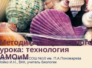 Методика современного урока: технология АМОиМ МБОУ г. Иркутска СОШ №10 им. П.