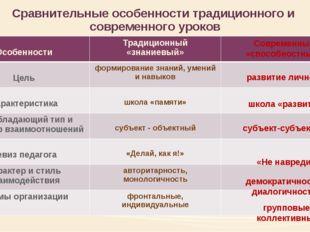 Сравнительные особенности традиционного и современного уроков развитие личнос