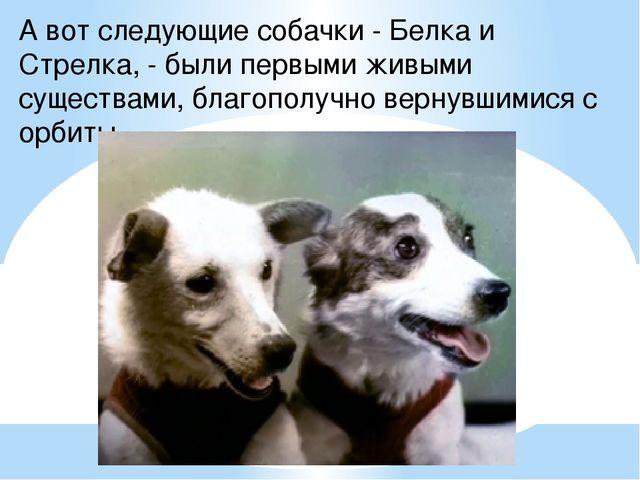 А вот следующие собачки - Белка и Стрелка, - были первыми живыми существами,...