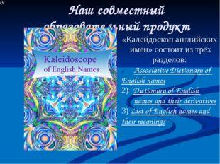 Наш совместный образовательный продукт «Калейдоскоп английских имен» состоит