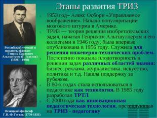 Этапы развития ТРИЗ 1953 год– Алекс Осборн «Управляемое воображение». Начало