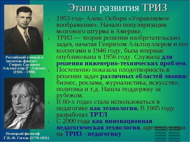 Этапы развития ТРИЗ 1953 год– Алекс Осборн «Управляемое воображение». Начало...