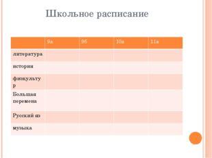 Школьное расписание 9а 9б 10а 11а литература история физкультур Большая перем