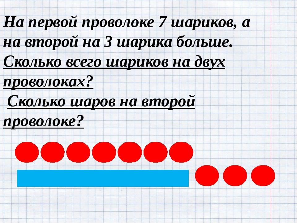 На первой проволоке 7 шариков, а на второй на 3 шарика больше. Сколько всего...