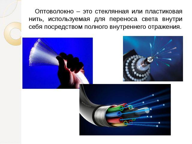 Оптоволокно – это стеклянная или пластиковая нить, используемая для переноса...