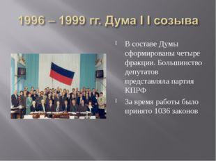 В составе Думы сформированы четыре фракции. Большинство депутатов представлял