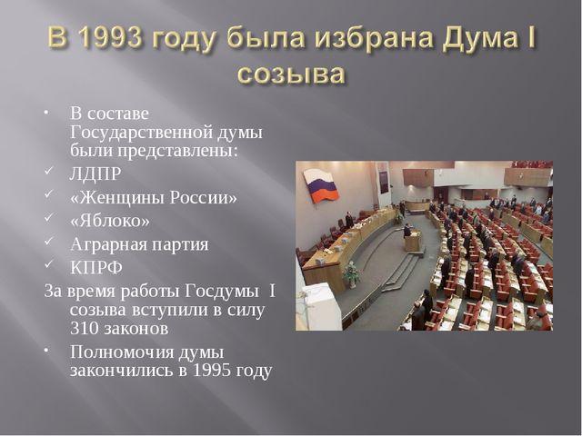 В составе Государственной думы были представлены: ЛДПР «Женщины России» «Ябло...