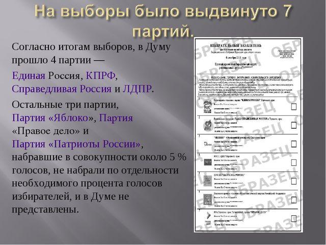 Согласно итогам выборов, в Думу прошло 4 партии— Единая Россия, КПРФ,Справе...