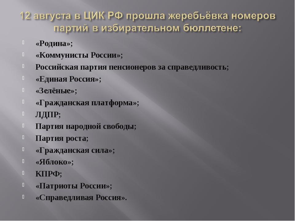 «Родина»; «Коммунисты России»; Российская партия пенсионеров за справедливост...
