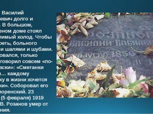 Умирал Василий Васильевич долго и тяжело. В большом, нетопленом доме стоял не