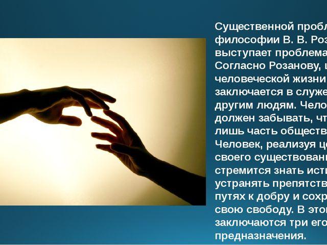 Существенной проблемой в философии В. В. Розанова выступает проблема цели. Со...