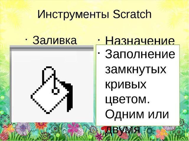 Инструменты Scratch Заливка Назначение Заполнение замкнутых кривых цветом. Од...