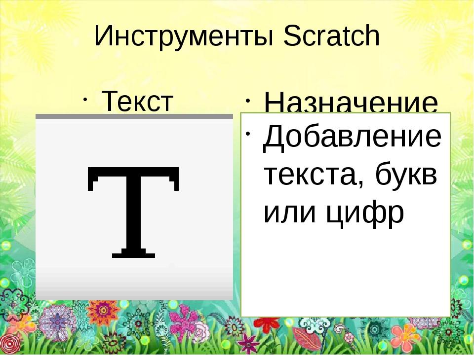 Инструменты Scratch Текст Назначение Добавление текста, букв или цифр