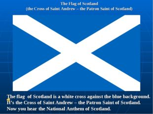The Flag of Scotland (the Cross of Saint Andrew – the Patron Saint of Scotlan