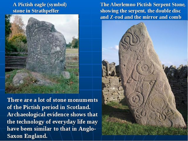 A Pictish eagle (symbol) stone in Strathpeffer The Aberlemno Pictish Serpent...