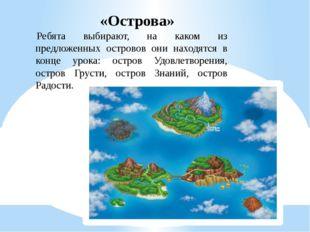 «Острова» Ребята выбирают, на каком из предложенных островов они находятся в