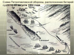 Схема Петропавловской обороны, расположение батарей и судов на 20 августа 185