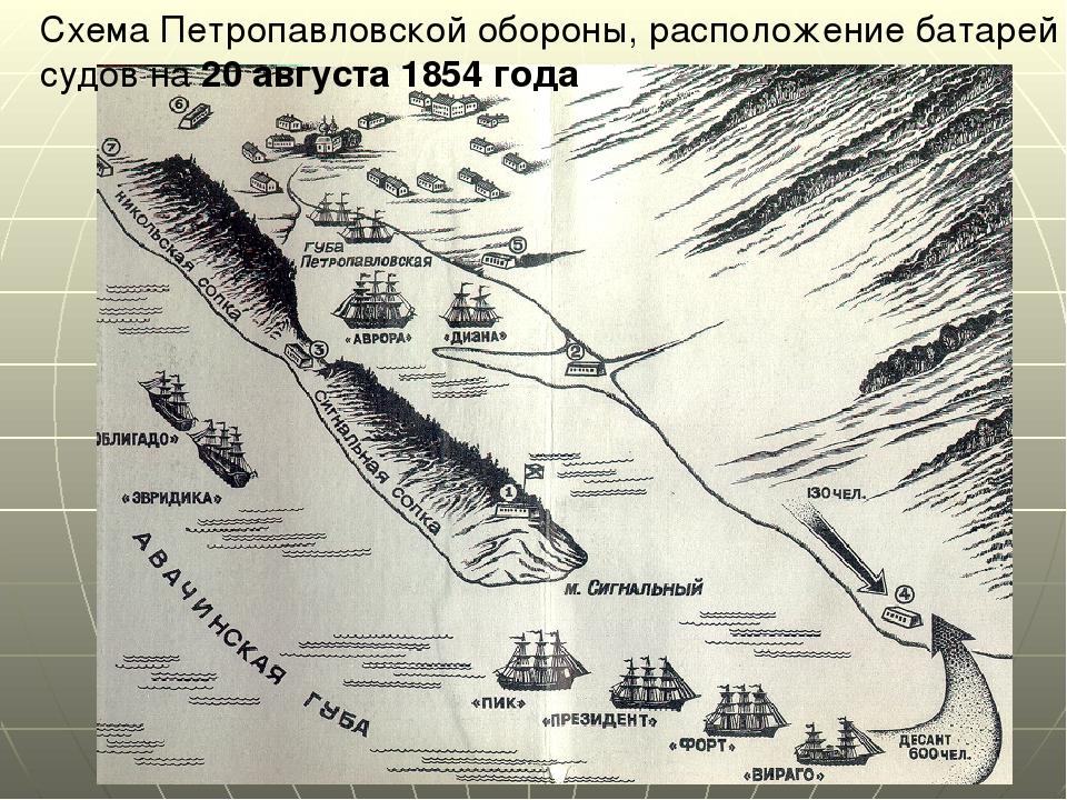Схема Петропавловской обороны, расположение батарей и судов на 20 августа 185...
